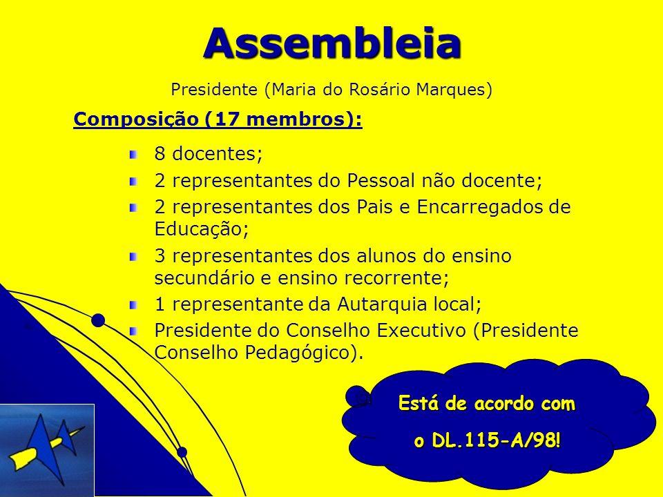 Está de acordo com o DL.115-A/98! Assembleia 8 docentes; 2 representantes do Pessoal não docente; 2 representantes dos Pais e Encarregados de Educação