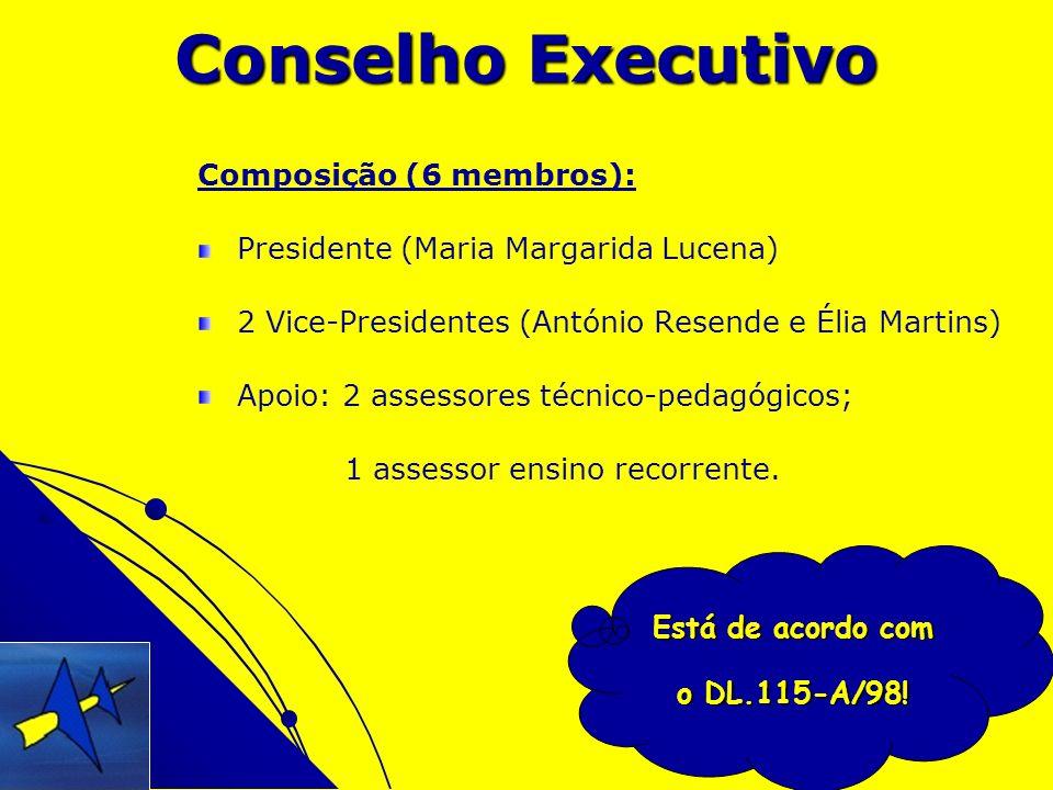 Está de acordo com o DL.115-A/98! Conselho Executivo Composição (6 membros): Presidente (Maria Margarida Lucena) 2 Vice-Presidentes (António Resende e