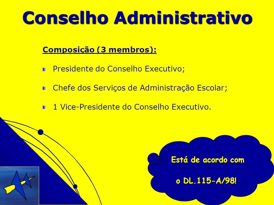 Conselho Administrativo Composição (3 membros): Presidente do Conselho Executivo; Chefe dos Serviços de Administração Escolar; 1 Vice-Presidente do Co