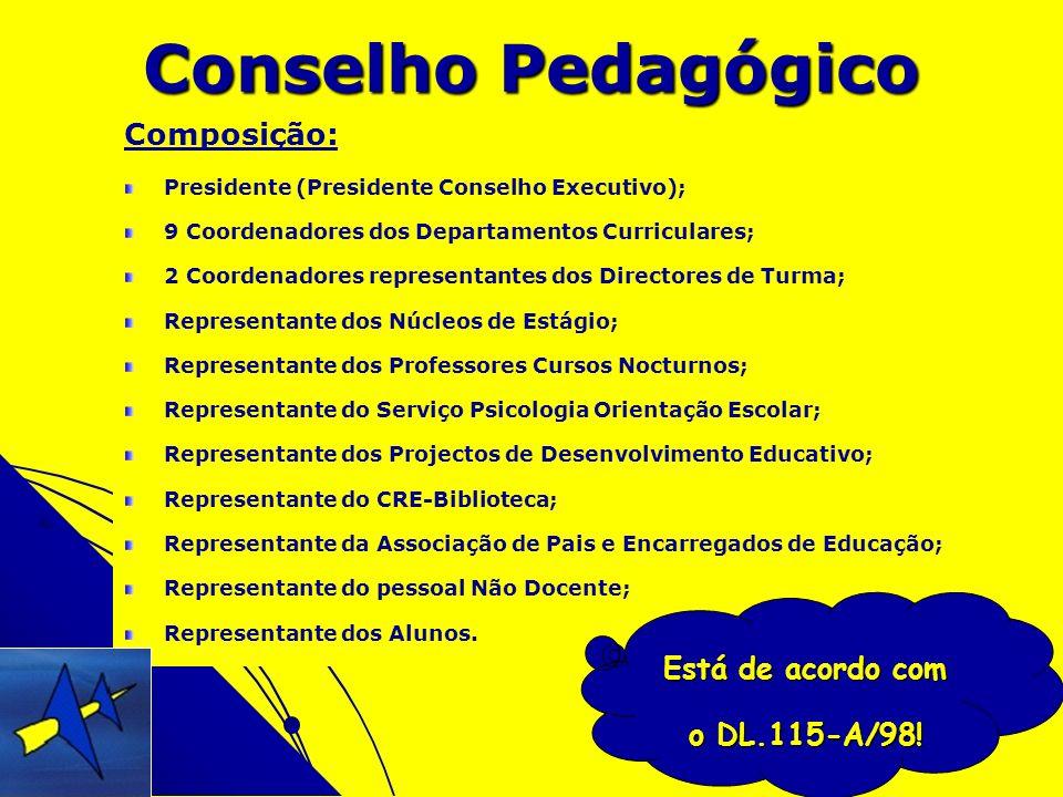 Composição: Presidente (Presidente Conselho Executivo); 9 Coordenadores dos Departamentos Curriculares; 2 Coordenadores representantes dos Directores
