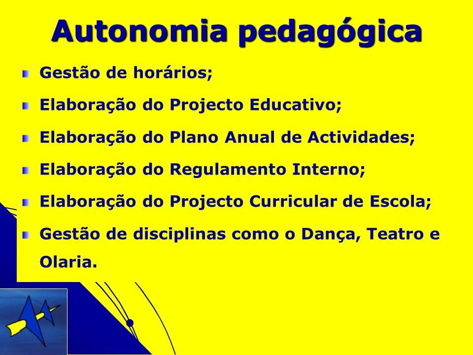 Autonomia pedagógica Gestão de horários; Elaboração do Projecto Educativo; Elaboração do Plano Anual de Actividades; Elaboração do Regulamento Interno