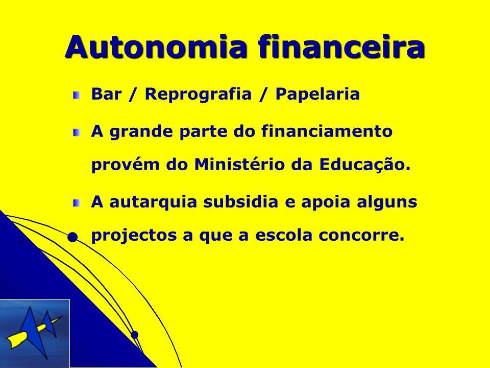 Autonomia financeira Bar / Reprografia / Papelaria A grande parte do financiamento provém do Ministério da Educação. A autarquia subsidia e apoia algu