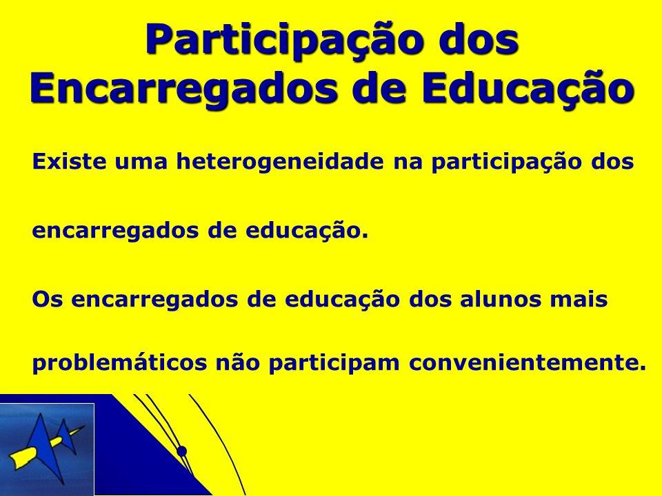 Existe uma heterogeneidade na participação dos encarregados de educação. Os encarregados de educação dos alunos mais problemáticos não participam conv