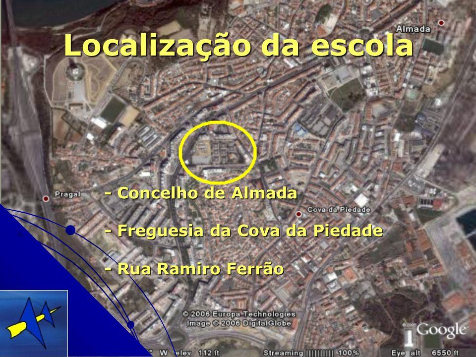 Localização da escola - Concelho de Almada - Freguesia da Cova da Piedade - Rua Ramiro Ferrão