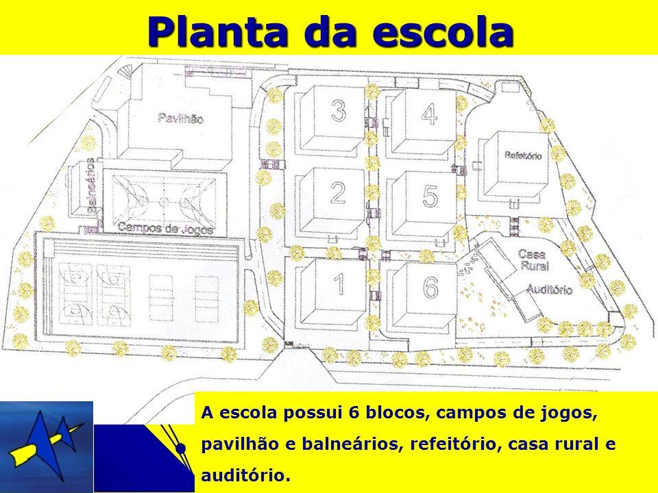Planta da escola A escola possui 6 blocos, campos de jogos, pavilhão e balneários, refeitório, casa rural e auditório.