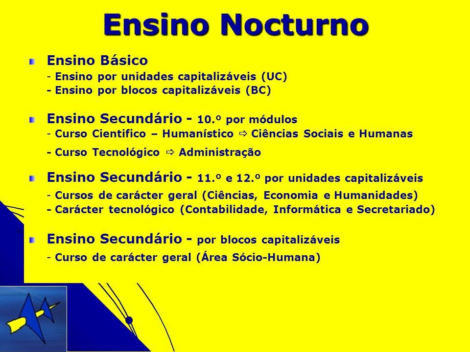 Ensino Nocturno Ensino Básico - Ensino por unidades capitalizáveis (UC) - Ensino por blocos capitalizáveis (BC) Ensino Secundário - 10.º por módulos -