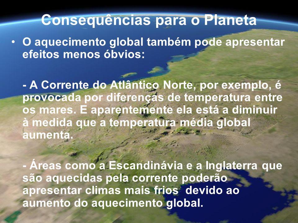 Consequências para o Planeta O aquecimento global também pode apresentar efeitos menos óbvios: - A Corrente do Atlântico Norte, por exemplo, é provoca