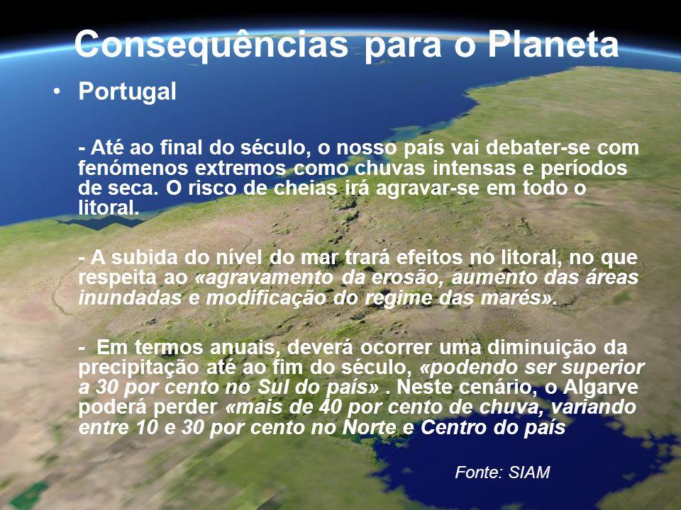 Consequências para o Planeta Portugal - Até ao final do século, o nosso país vai debater-se com fenómenos extremos como chuvas intensas e períodos de