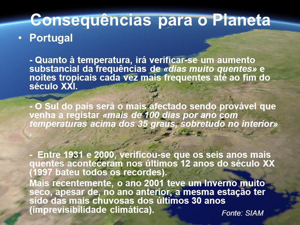 Consequências para o Planeta Portugal - Quanto à temperatura, irá verificar-se um aumento substancial da frequências de «dias muito quentes» e noites