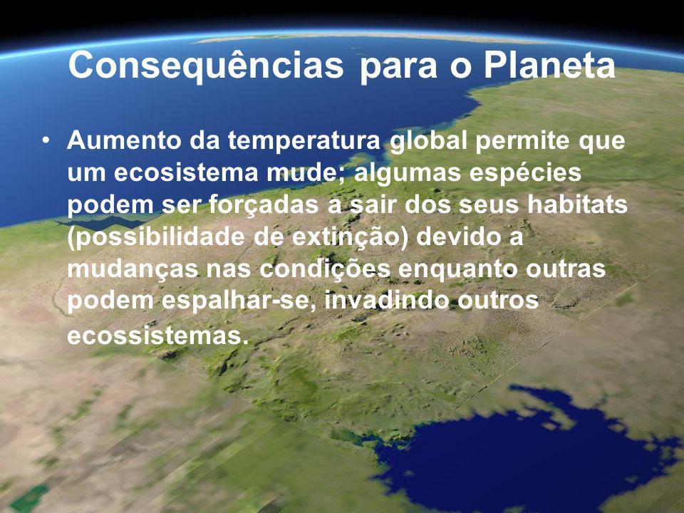 Consequências para o Planeta Aumento da temperatura global permite que um ecosistema mude; algumas espécies podem ser forçadas a sair dos seus habitat