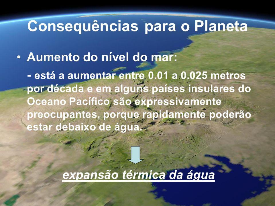 Consequências para o Planeta Aumento do nível do mar: - está a aumentar entre 0.01 a 0.025 metros por década e em alguns países insulares do Oceano Pa