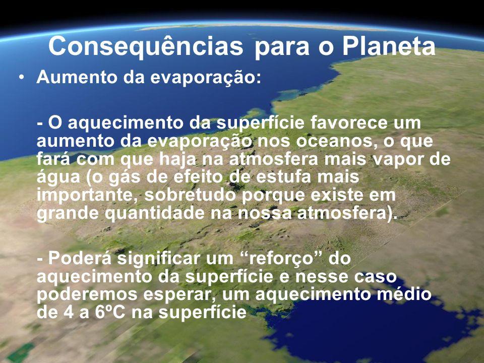 Consequências para o Planeta Aumento da evaporação: - O aquecimento da superfície favorece um aumento da evaporação nos oceanos, o que fará com que ha