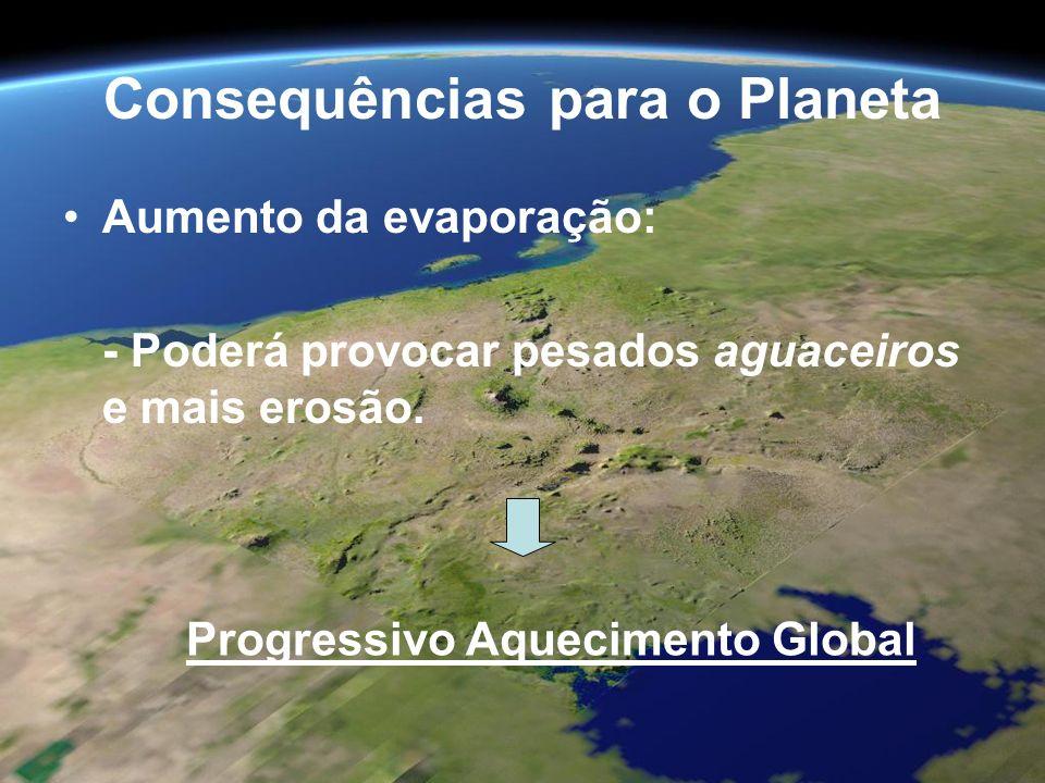 Consequências para o Planeta Aumento da evaporação: - Poderá provocar pesados aguaceiros e mais erosão. Progressivo Aquecimento Global