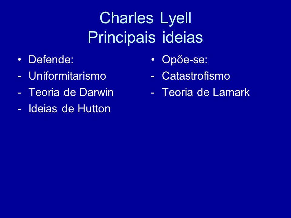 Charles Lyell Contributos para a Biologia Estudo da Teoria Uniformitarista e sua enunciação: a superfície da Terra teria sido sempre alterada de forma gradual, tendo por agentes forças naturais conhecidas, tais como a chuva, a neve, a erosão, a deposição, a sedimentação, o vento etc. .