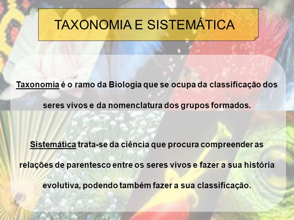 TAXONOMIA E SISTEMÁTICA Taxonomia é o ramo da Biologia que se ocupa da classificação dos seres vivos e da nomenclatura dos grupos formados. Sistemátic