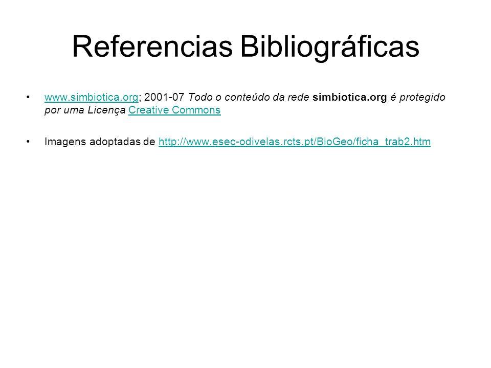 Referencias Bibliográficas www.simbiotica.org; 2001-07 Todo o conteúdo da rede simbiotica.org é protegido por uma Licença Creative Commonswww.simbioti