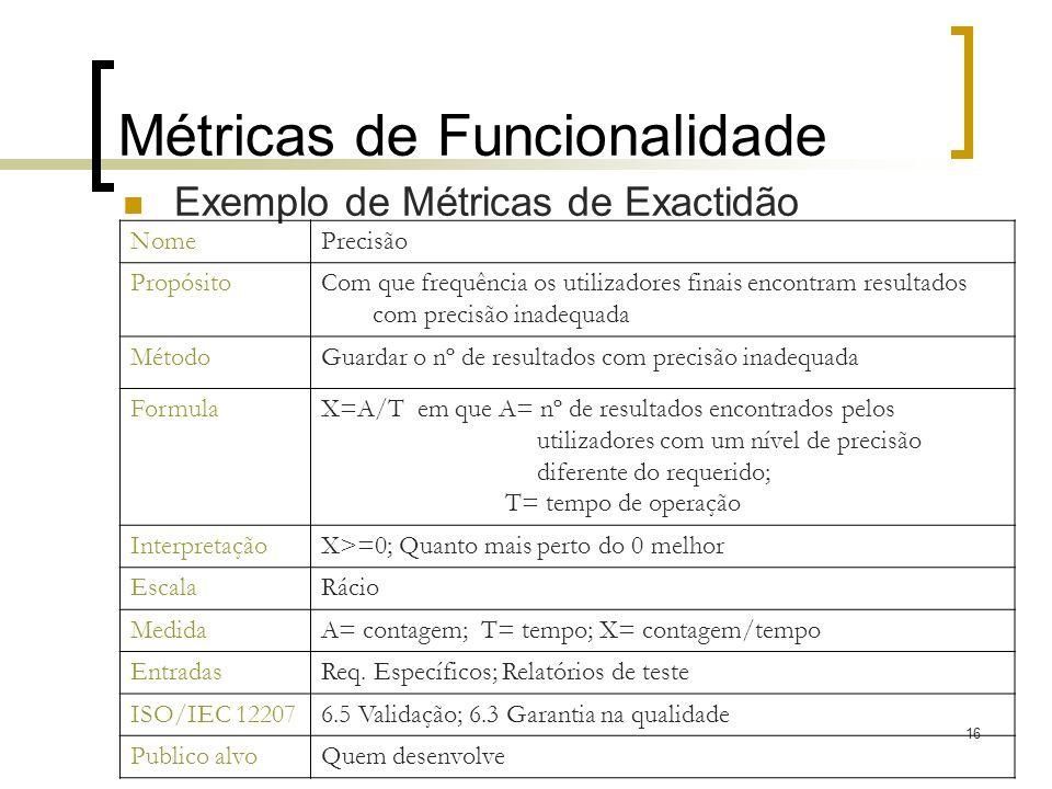 16 Métricas de Funcionalidade Exemplo de Métricas de Exactidão NomePrecisão PropósitoCom que frequência os utilizadores finais encontram resultados co