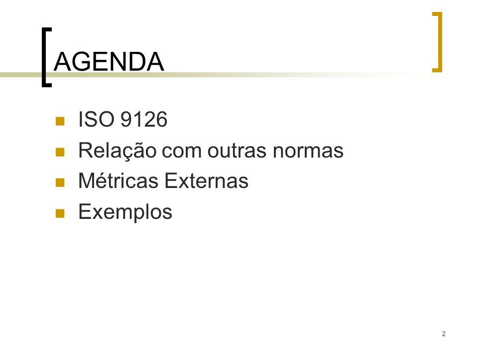 2 AGENDA ISO 9126 Relação com outras normas Métricas Externas Exemplos