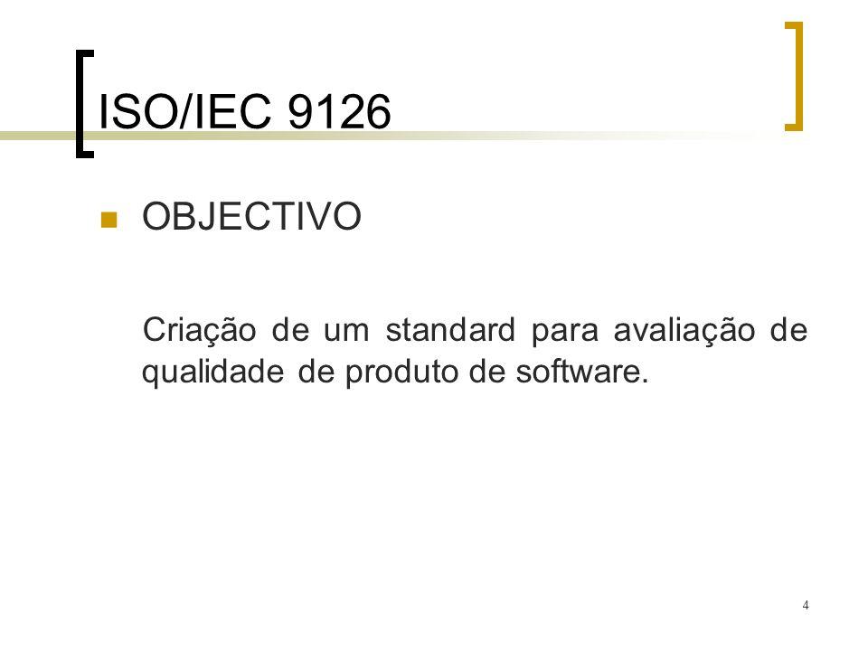 4 ISO/IEC 9126 OBJECTIVO Criação de um standard para avaliação de qualidade de produto de software.
