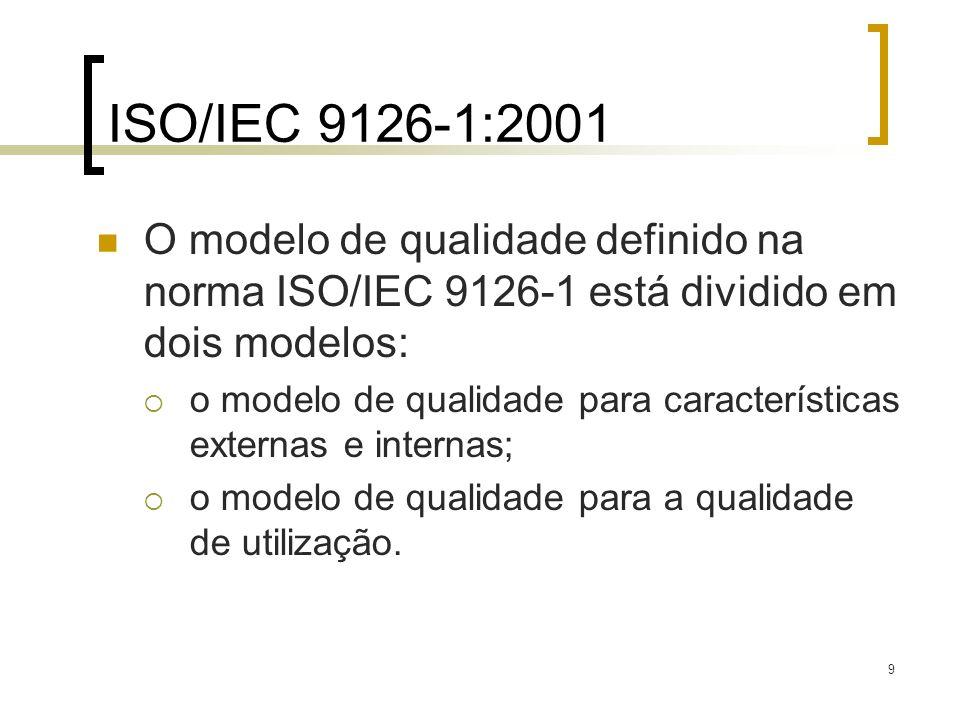9 O modelo de qualidade definido na norma ISO/IEC 9126-1 está dividido em dois modelos: o modelo de qualidade para características externas e internas