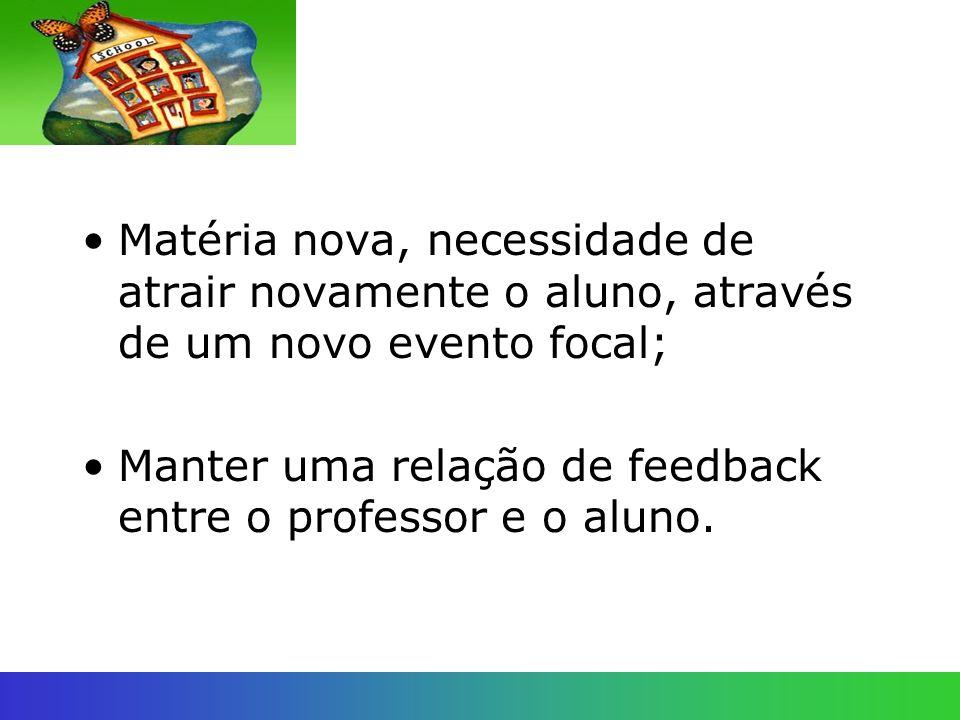 Matéria nova, necessidade de atrair novamente o aluno, através de um novo evento focal; Manter uma relação de feedback entre o professor e o aluno.