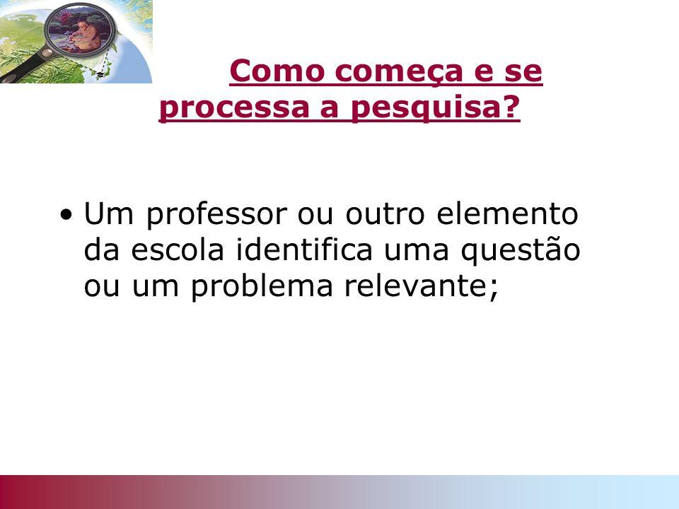 Como começa e se processa a pesquisa? Um professor ou outro elemento da escola identifica uma questão ou um problema relevante;