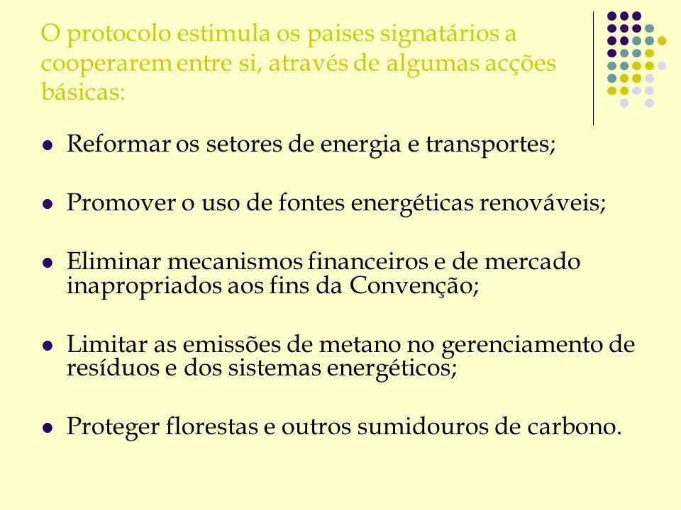 O protocolo estimula os paises signatários a cooperarem entre si, através de algumas acções básicas: Reformar os setores de energia e transportes; Pro