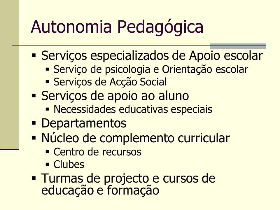 Autonomia Pedagógica Serviços especializados de Apoio escolar Serviço de psicologia e Orientação escolar Serviços de Acção Social Serviços de apoio ao