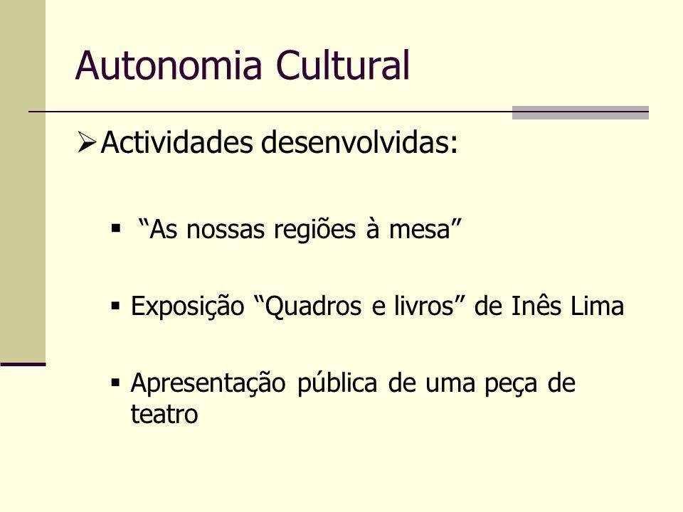 Actividades desenvolvidas: As nossas regiões à mesa Exposição Quadros e livros de Inês Lima Apresentação pública de uma peça de teatro Autonomia Cultu