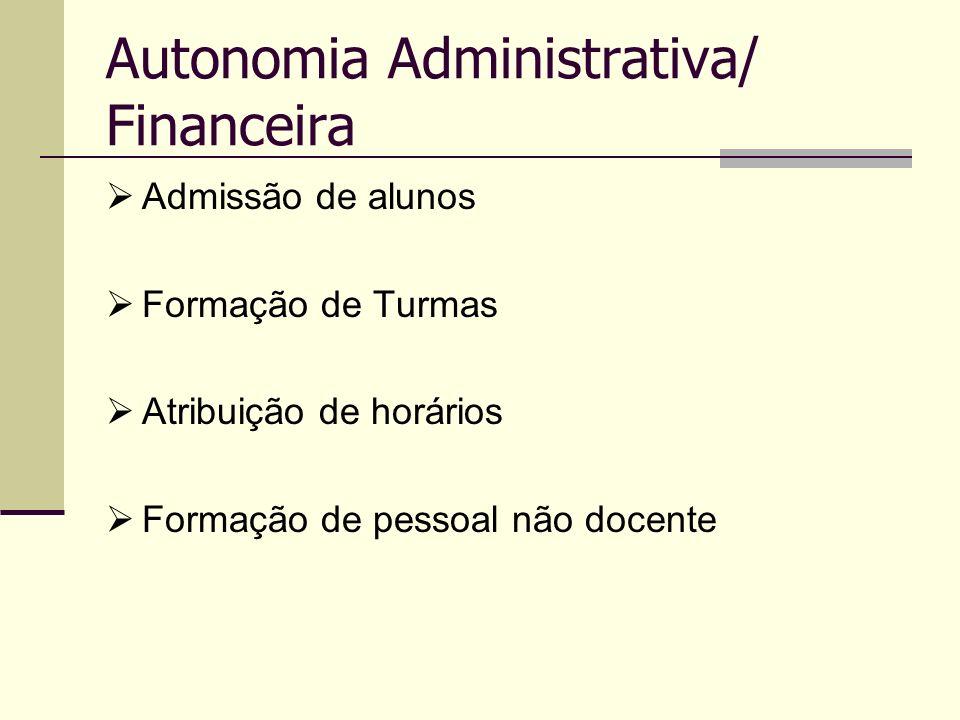 Autonomia Administrativa/ Financeira Admissão de alunos Formação de Turmas Atribuição de horários Formação de pessoal não docente