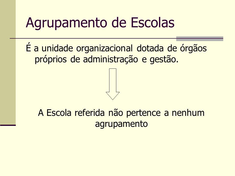 Agrupamento de Escolas É a unidade organizacional dotada de órgãos próprios de administração e gestão. A Escola referida não pertence a nenhum agrupam