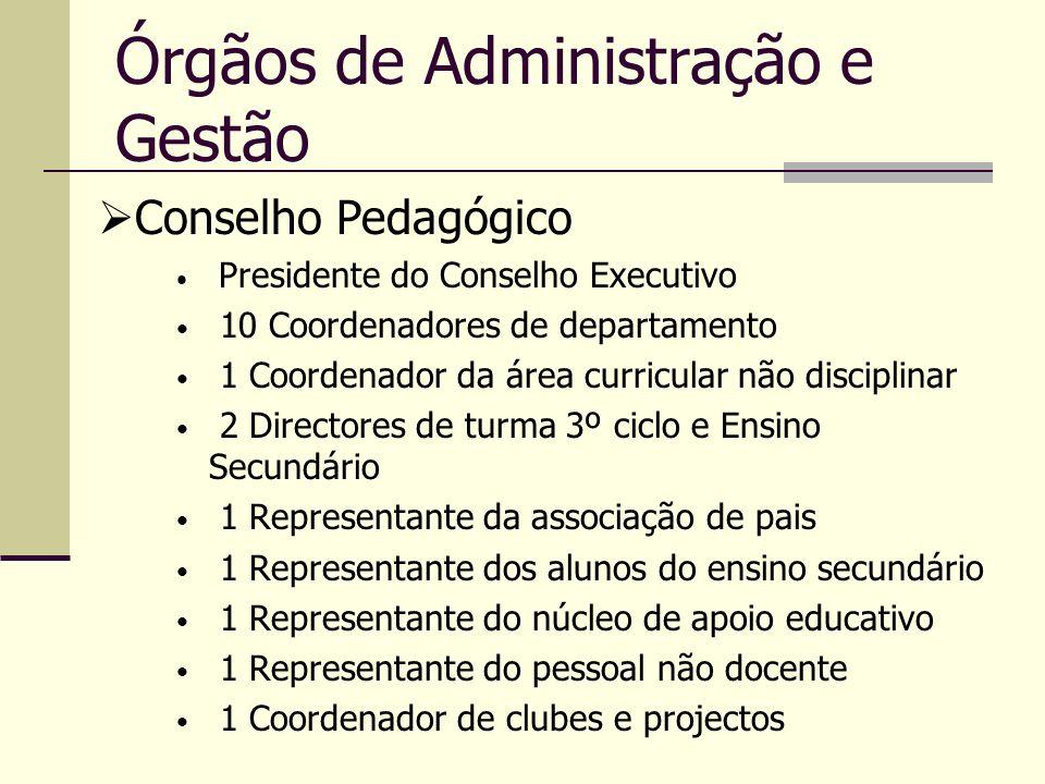 Órgãos de Administração e Gestão Presidente do Conselho Executivo 10 Coordenadores de departamento 1 Coordenador da área curricular não disciplinar 2