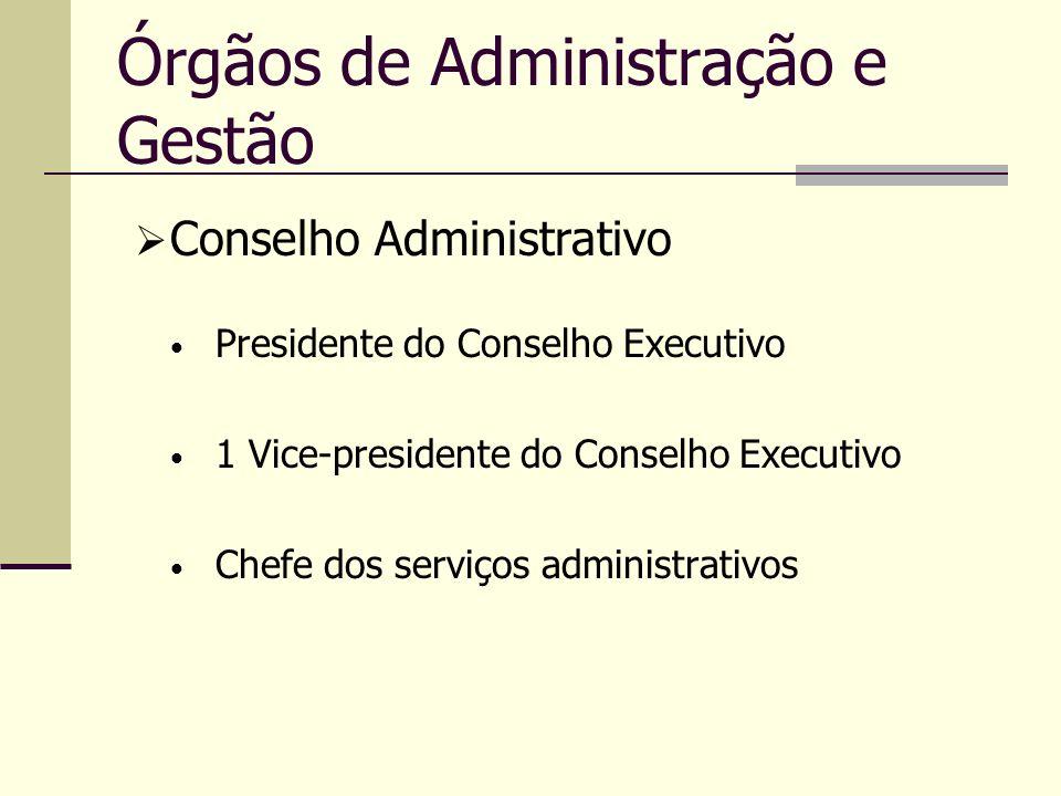 Órgãos de Administração e Gestão Presidente do Conselho Executivo 1 Vice-presidente do Conselho Executivo Chefe dos serviços administrativos Conselho