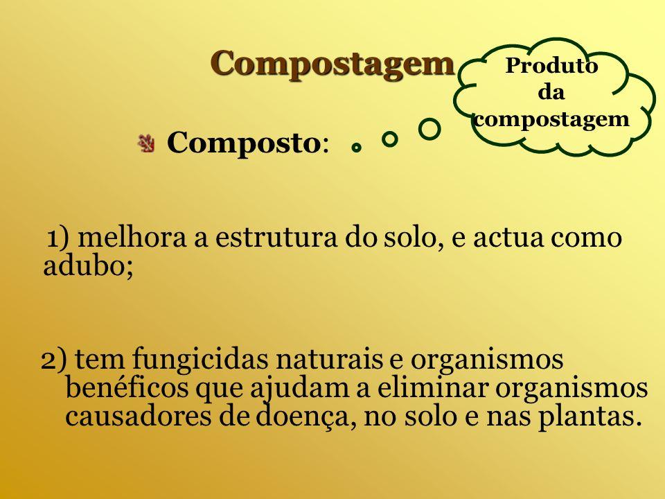 2) tem fungicidas naturais e organismos benéficos que ajudam a eliminar organismos causadores de doença, no solo e nas plantas. Compostagem 1) melhora