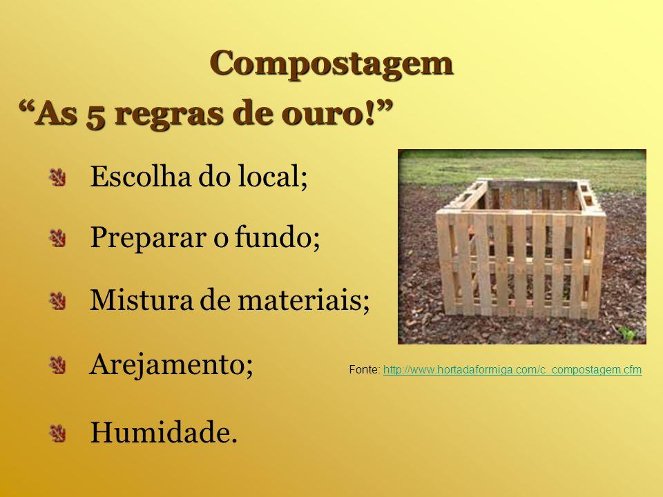Arejamento; Fonte: http://www.hortadaformiga.com/c_compostagem.cfmhttp://www.hortadaformiga.com/c_compostagem.cfm Compostagem As 5 regras de ouro! Esc