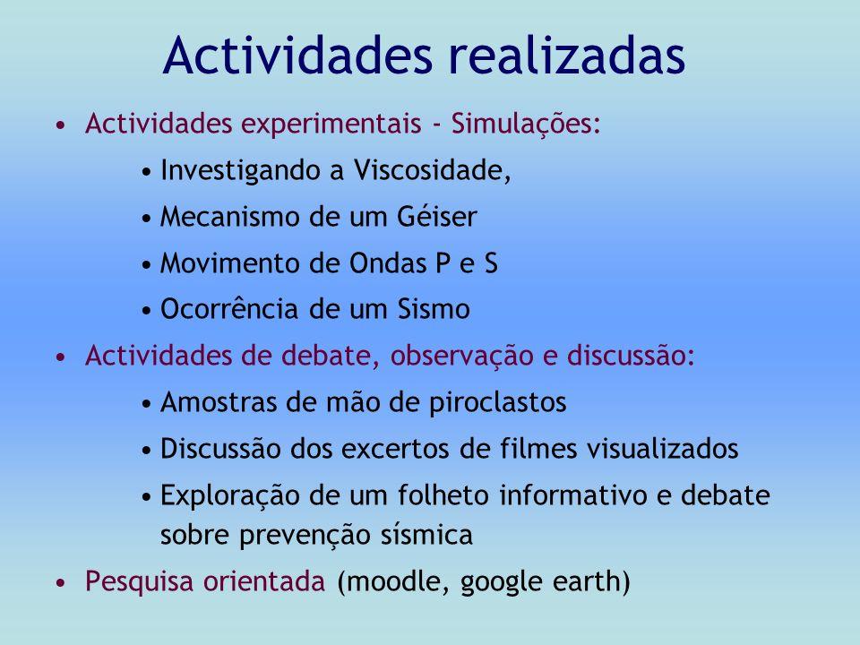 Actividades realizadas Actividades experimentais - Simulações: Investigando a Viscosidade, Mecanismo de um Géiser Movimento de Ondas P e S Ocorrência