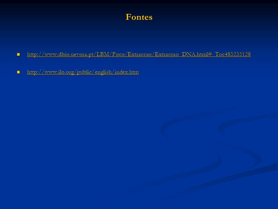 Fontes http://www.dbio.uevora.pt/LBM/Foco/Extraccao/Extraccao_DNA.html#_Toc485235128 http://www.dbio.uevora.pt/LBM/Foco/Extraccao/Extraccao_DNA.html#_