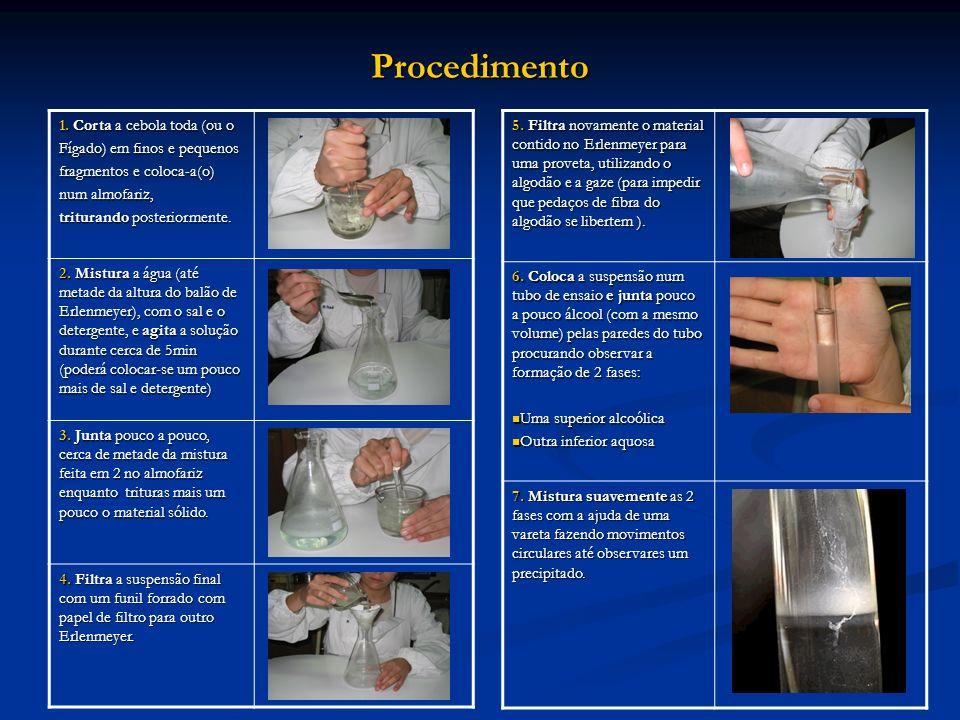 Procedimento 1. Corta a cebola toda (ou o Fígado) em finos e pequenos fragmentos e coloca-a(o) num almofariz, triturando posteriormente. 2. Mistura a