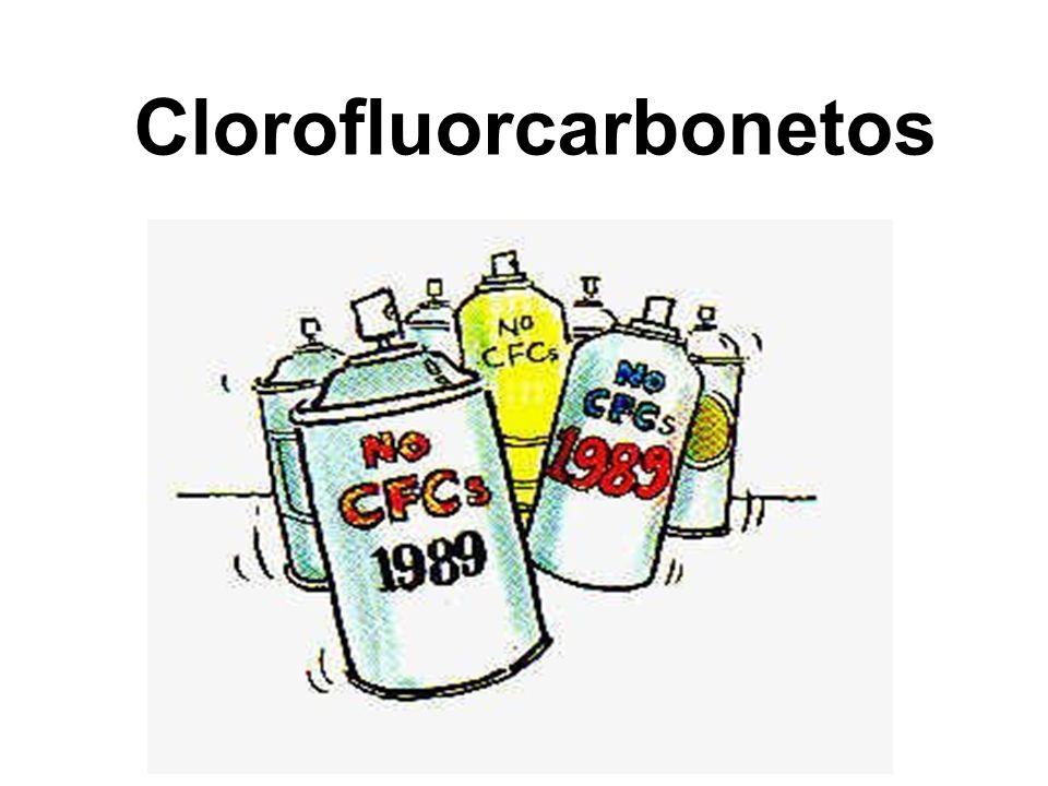 Os clorofluorcarbonetos (CFCs) são um grupo de hidrocarbonetos halogenados usados em aerossóis, gases para frigorífico, solventes e extintores de incêndio, ar condicionado.