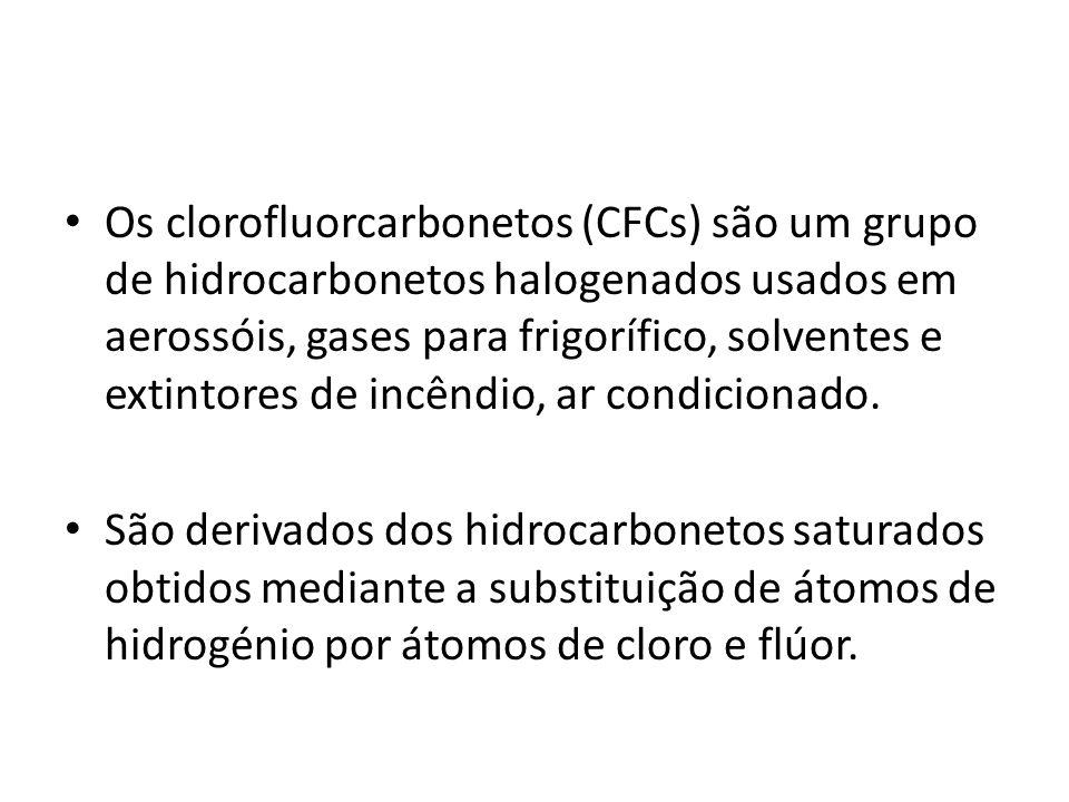 Os clorofluorcarbonetos (CFCs) são um grupo de hidrocarbonetos halogenados usados em aerossóis, gases para frigorífico, solventes e extintores de incê