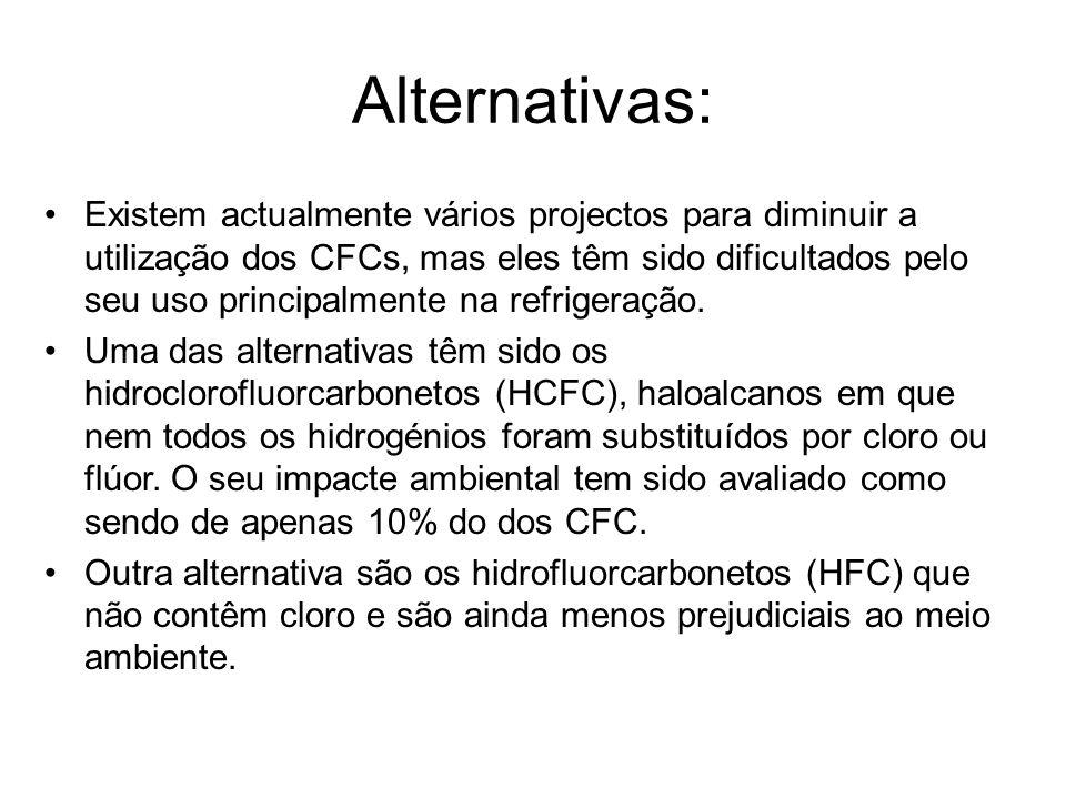 Alternativas: Existem actualmente vários projectos para diminuir a utilização dos CFCs, mas eles têm sido dificultados pelo seu uso principalmente na