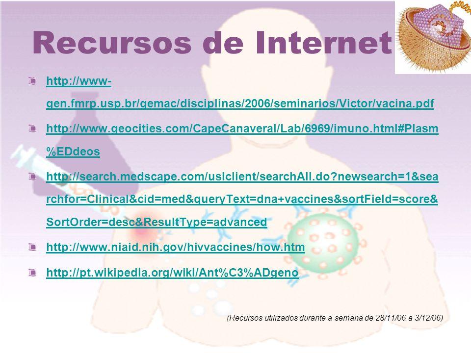 Recursos de Internet http://www- gen.fmrp.usp.br/gemac/disciplinas/2006/seminarios/Victor/vacina.pdf http://www.geocities.com/CapeCanaveral/Lab/6969/i