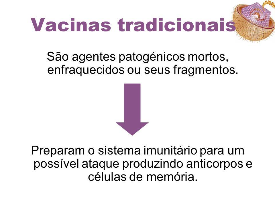 Vacinas tradicionais São agentes patogénicos mortos, enfraquecidos ou seus fragmentos. Preparam o sistema imunitário para um possível ataque produzind