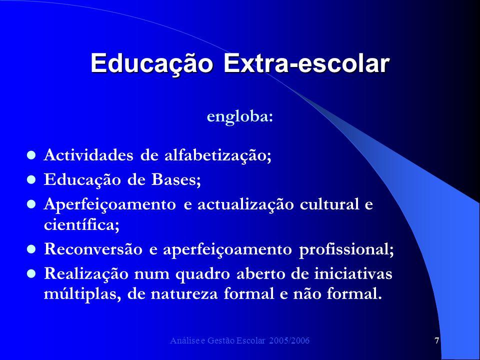 Análise e Gestão Escolar 2005/20067 Educação Extra-escolar engloba: Actividades de alfabetização; Educação de Bases; Aperfeiçoamento e actualização cu