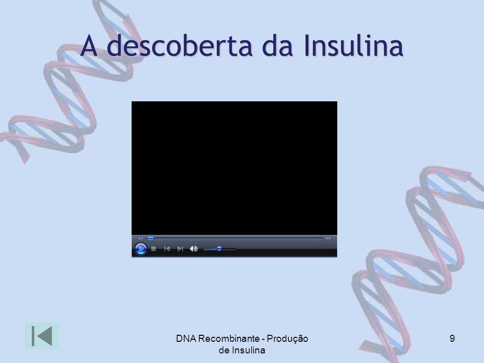 DNA Recombinante - Produção de Insulina 9 A descoberta da Insulina