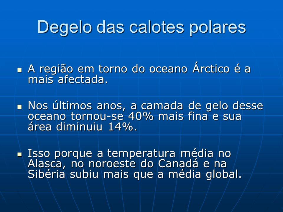 Degelo das calotes polares A região em torno do oceano Árctico é a mais afectada. A região em torno do oceano Árctico é a mais afectada. Nos últimos a