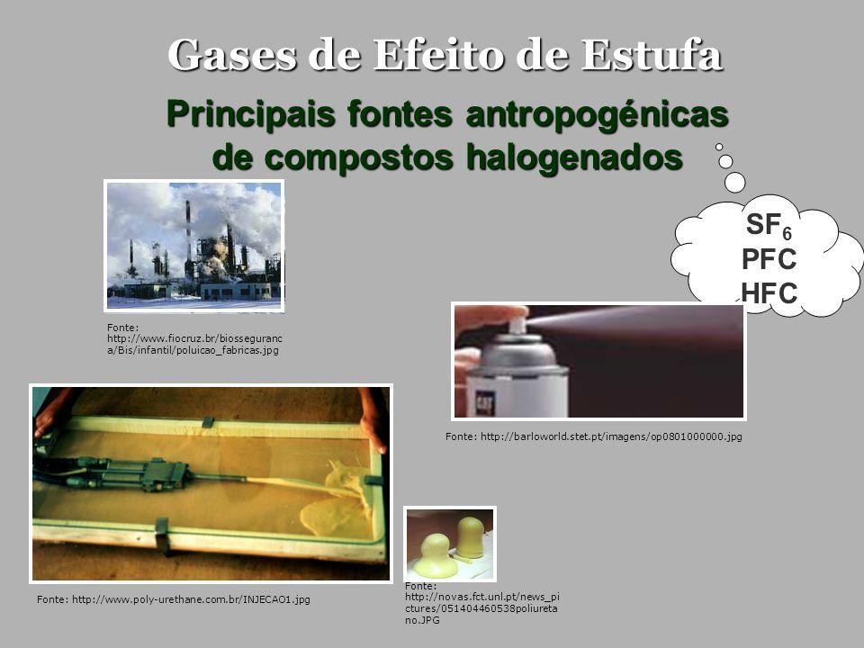 Gases de Efeito de Estufa Principais fontes antropogénicas de compostos halogenados SF 6 PFC HFC Fonte: http://www.fiocruz.br/biosseguranc a/Bis/infan