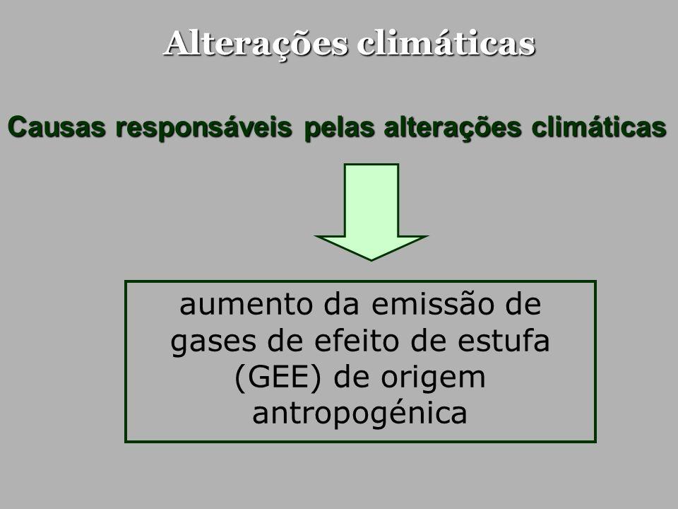 Alterações climáticas Crescimento em diversos sectores sociais… população mundial actividade económica uso de energia Aumento da emissão de gases de efeito de estufa