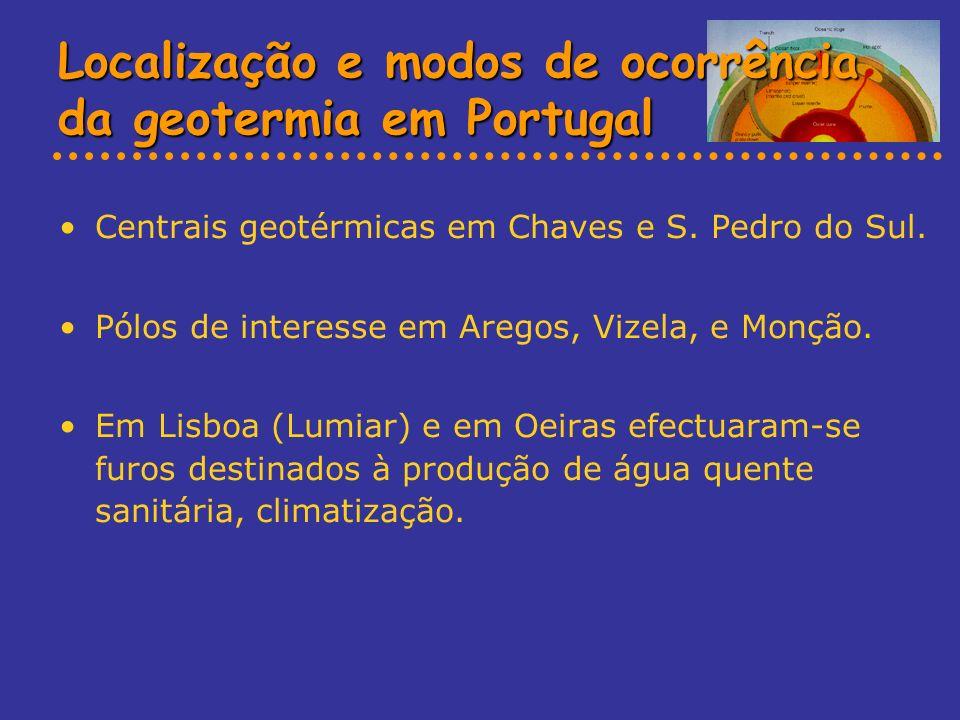 Localização e modos de ocorrência da geotermia em Portugal Centrais geotérmicas em Chaves e S. Pedro do Sul. Pólos de interesse em Aregos, Vizela, e M