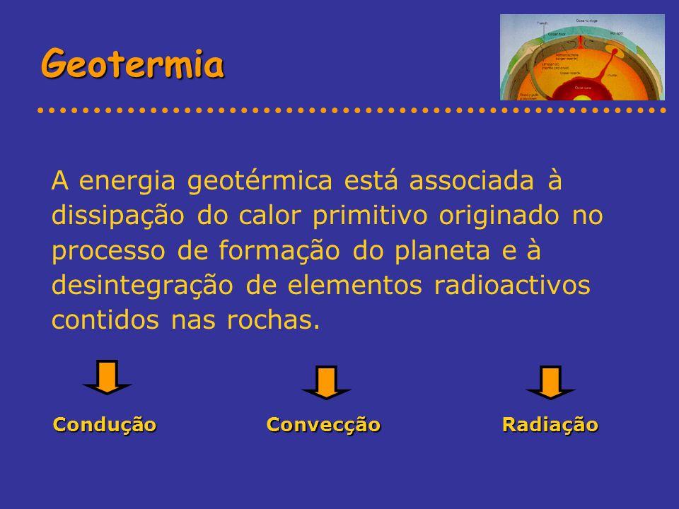 Geotermia A energia geotérmica está associada à dissipação do calor primitivo originado no processo de formação do planeta e à desintegração de elemen